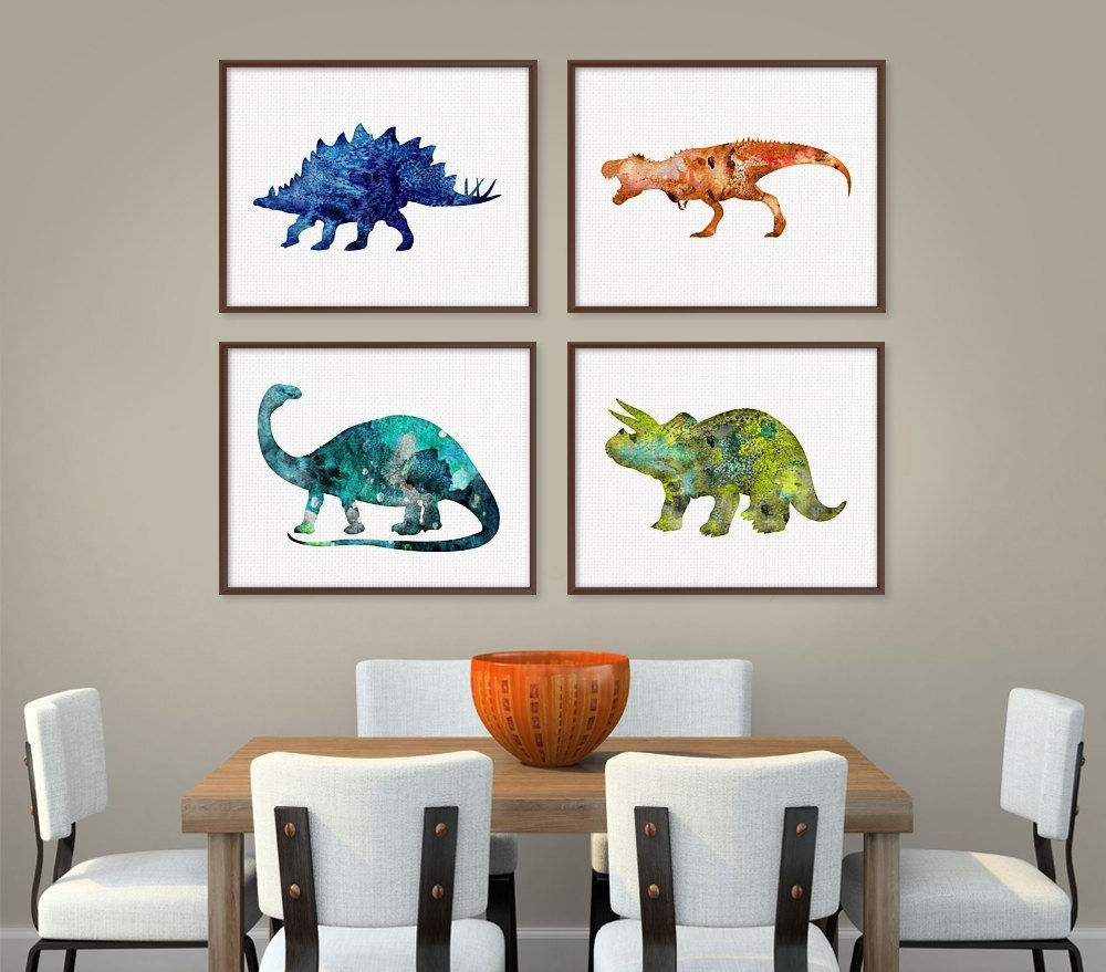 Dinosaur Art Print, Set Of 4 Prints, Dinosaur Poster, Dinosaur Wall With Well Known Dinosaur Wall Art (View 4 of 20)