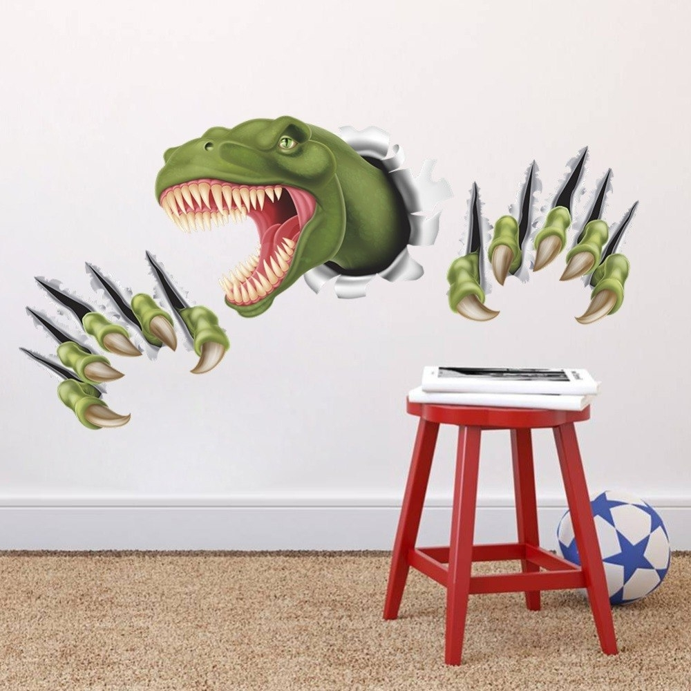 Dinosaur Wall Art Regarding Trendy New 3D Stereo Dinosaur Break Through Wall Art Mural Poster Through (View 9 of 20)