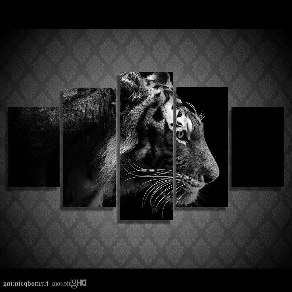 Discount Framed Hd Printed Black White Tiger Picture Wall Art Canvas Within Current Black And White Large Canvas Wall Art (View 9 of 20)