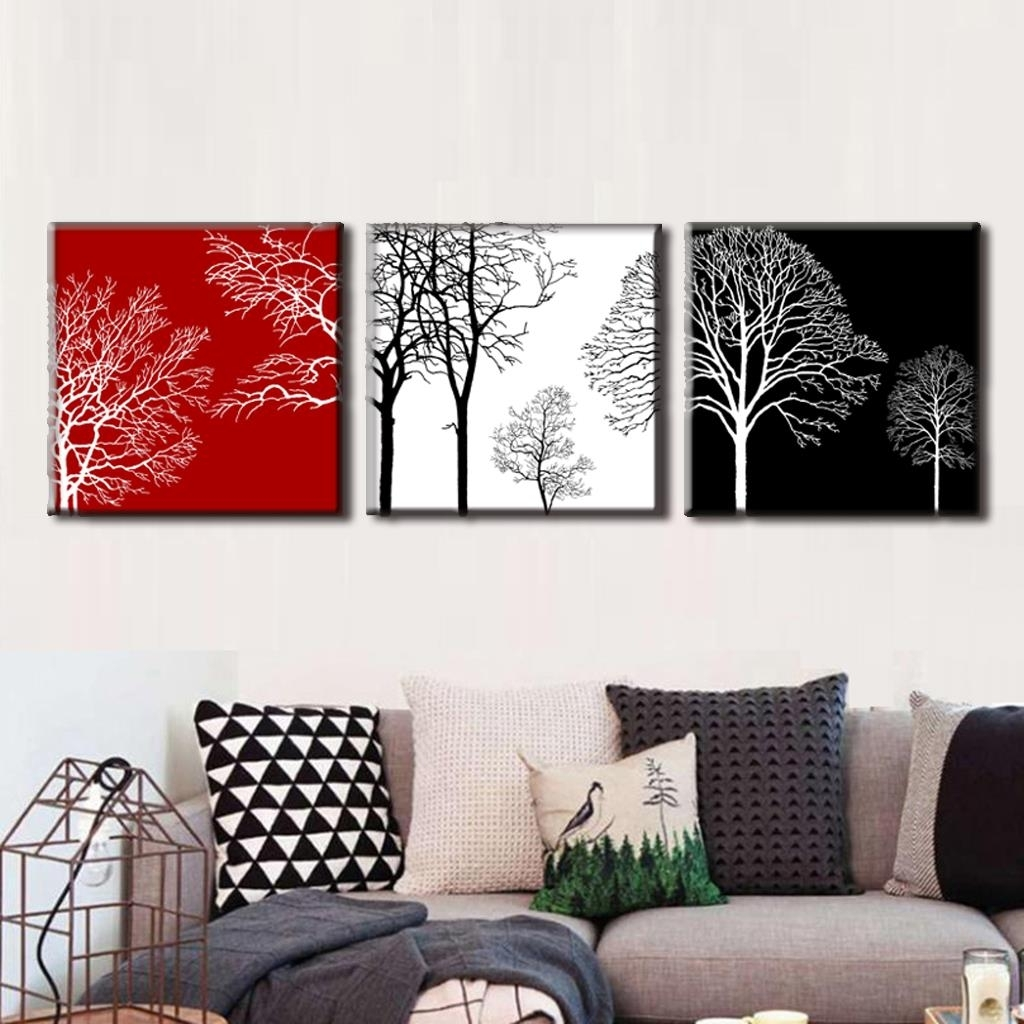 Discount Framed Painting 3 Pcs/set Modern Tress Wall Art Canvas Inside Favorite Discount Wall Art (View 2 of 20)