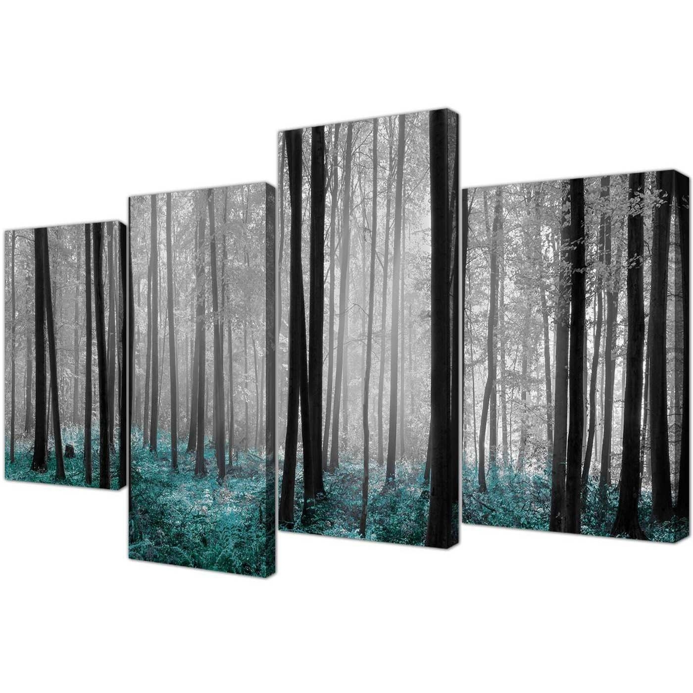Discount Wall Art With 2018 Discount Canvas Art Beautiful Black & White Teal Forest Trees Canvas (View 20 of 20)