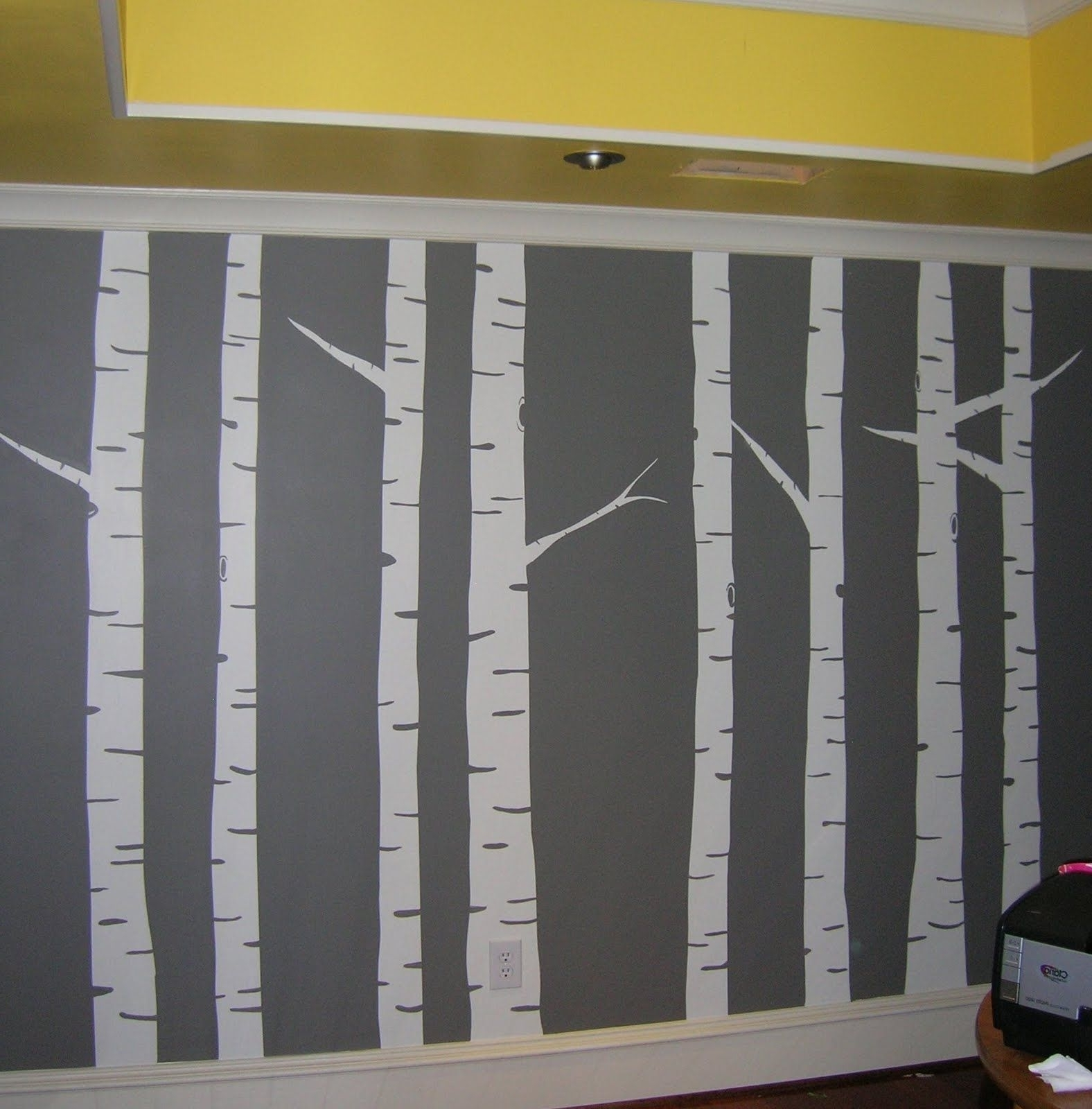 Diy Wall Painted Birch Tree Wall Art Mural Gray Inside Birch Tree Wall Art (Gallery 18 of 20)