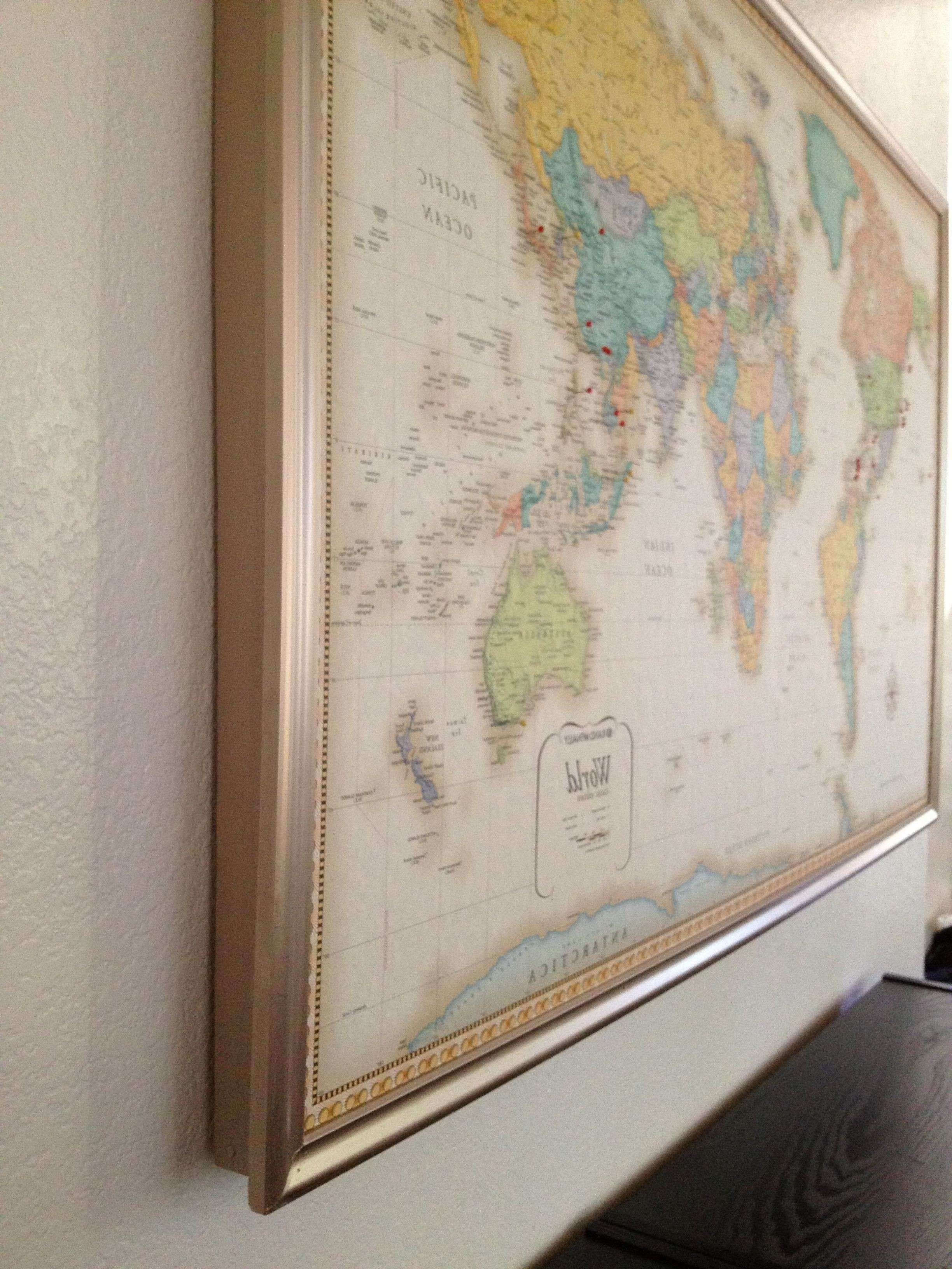 Diy World Map Wall Art Regarding Well Known World Map Wall Art Framed Fresh Diy With Pins Of – Awesomebryner (View 5 of 20)