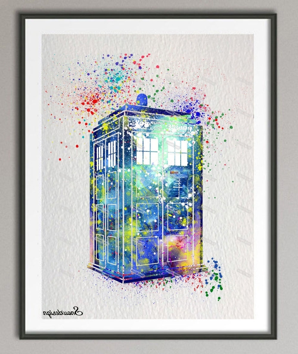 Doctor Who Wall Art Pertaining To Popular Diy Original Watercolor Doctor Who Tardis Wall Art Canvas Painting (Gallery 15 of 15)