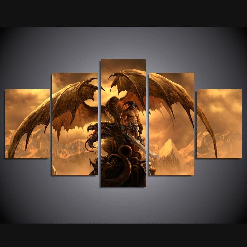 Dragon Wall Art For Favorite 5 Panels Wall Art Dragon Fantasy Sword Warrior Art Wall Decor (View 6 of 20)