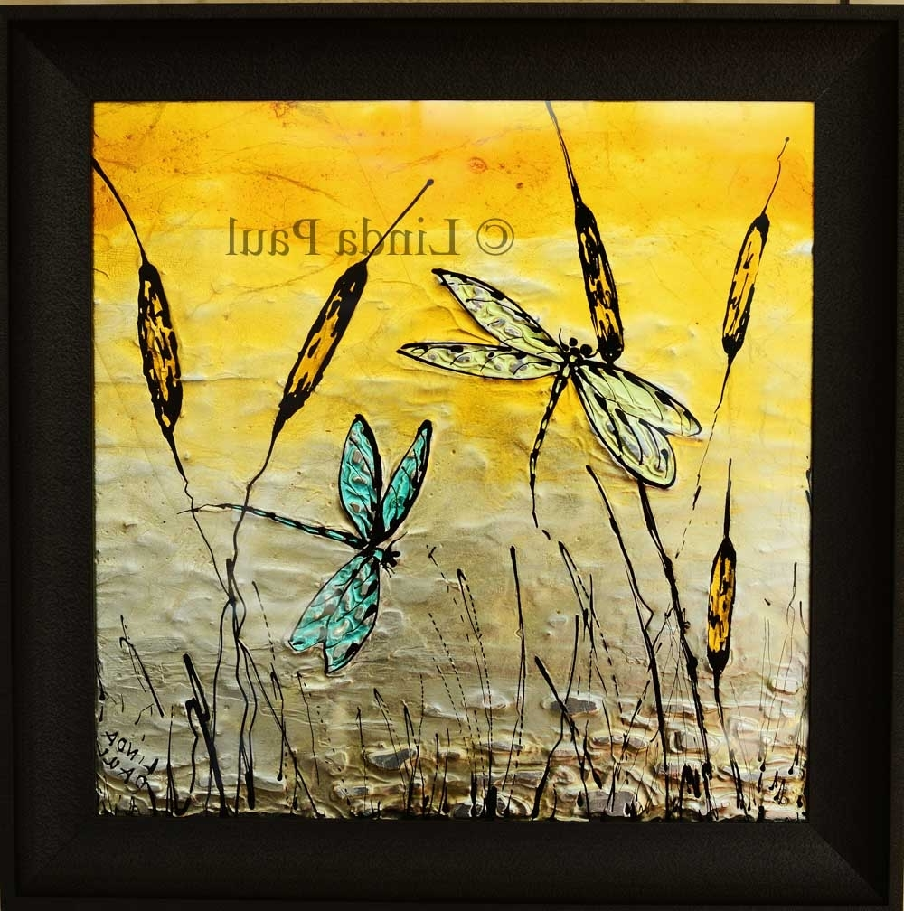 Dragonfly Art Glass Tile – Painted Pictures Of Dragonflies Pertaining To Well Known Dragonfly Painting Wall Art (View 6 of 20)