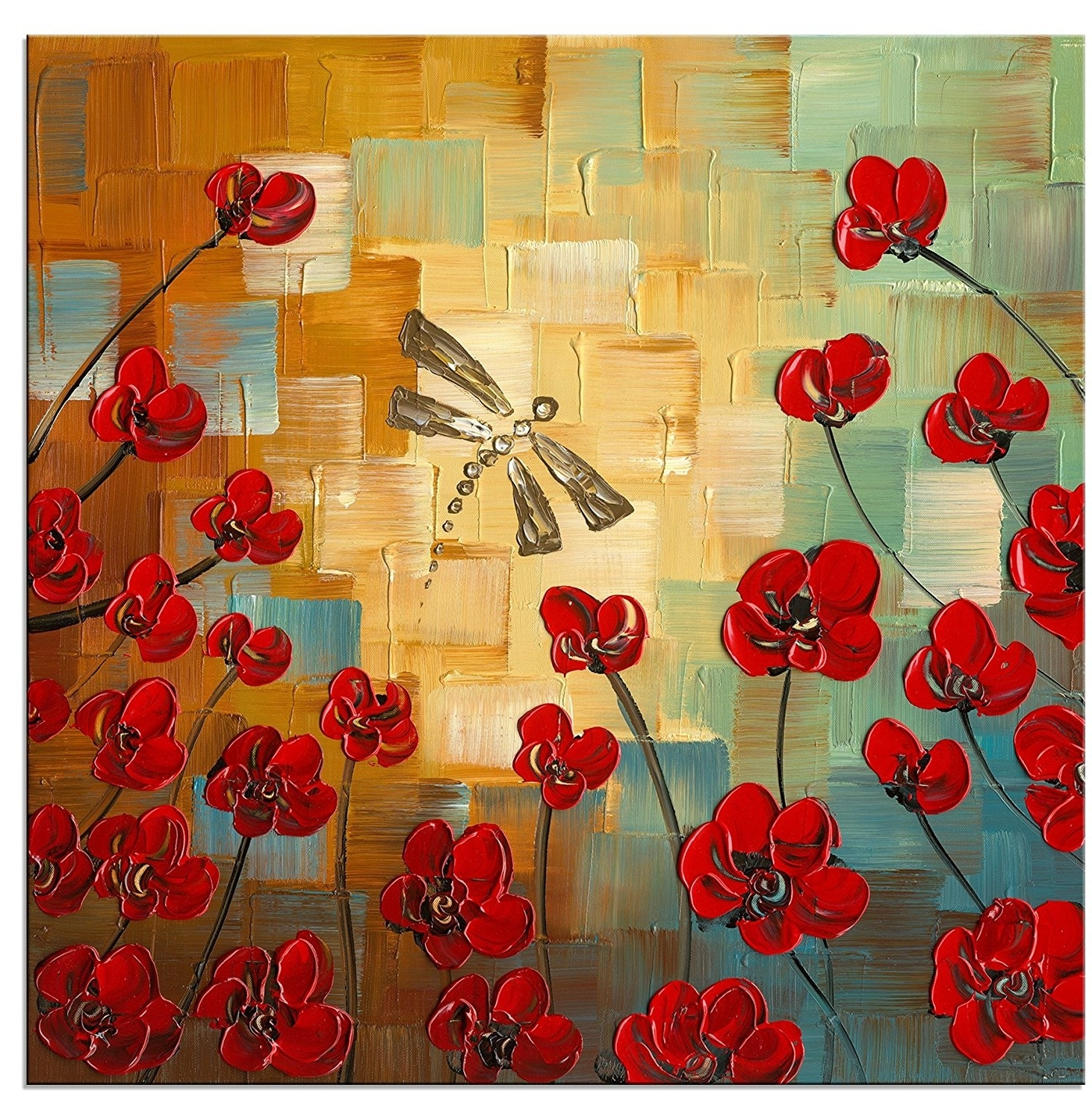 [%Dragonfly Modern Flowers Artwork 100% Hand Painted Stretched And With Preferred Floral Canvas Wall Art|Floral Canvas Wall Art Intended For Newest Dragonfly Modern Flowers Artwork 100% Hand Painted Stretched And|Newest Floral Canvas Wall Art For Dragonfly Modern Flowers Artwork 100% Hand Painted Stretched And|Well Known Dragonfly Modern Flowers Artwork 100% Hand Painted Stretched And With Regard To Floral Canvas Wall Art%] (View 1 of 20)
