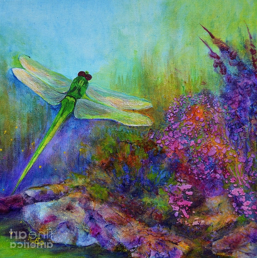 Dragonfly Painting Wall Art In Most Popular Green Dragonfly Paintingclaire Bull (View 7 of 20)