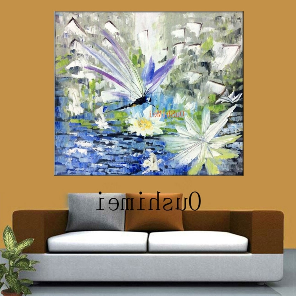 Dragonfly Painting Wall Art Intended For Fashionable Handmade Dragonfly Paintings Big Size Abstract Animals Picture (Gallery 4 of 20)