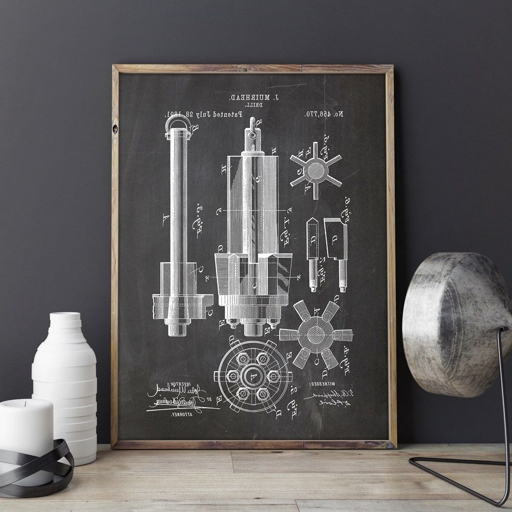 Drill Printable, Drill Print, Industrial Blueprint, Garage Patent Within 2017 Manly Wall Art (Gallery 3 of 20)