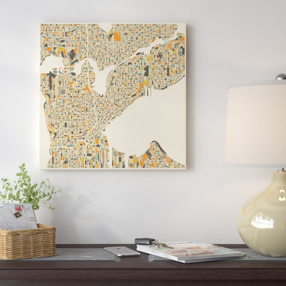 East Urban Home 'abstract City Map Of Seattle' Graphic Art On With Best And Newest Seattle Map Wall Art (Gallery 15 of 20)