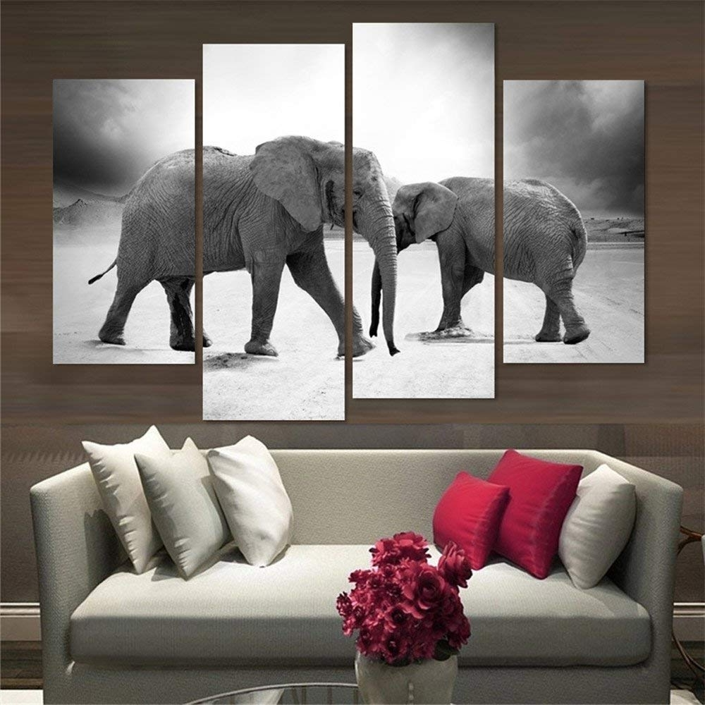Elephant Canvas Wall Art Inside 2017 Amazon: 4 Piece Home Decor Oil Painting Two Elephants Hd Print (View 8 of 20)