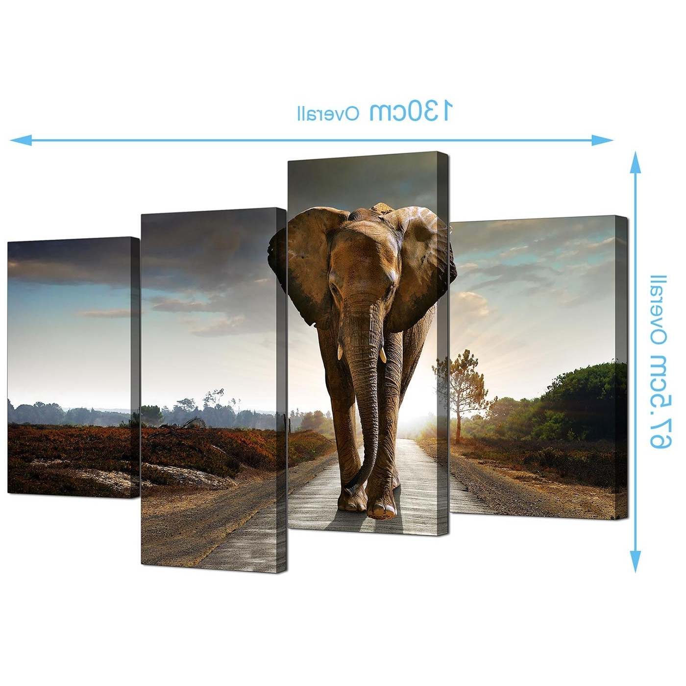 Elephant Canvas Wall Art Pertaining To Latest Canvas Art Of An African Elephant For Your Bedroom – 4 Panel (Gallery 5 of 20)