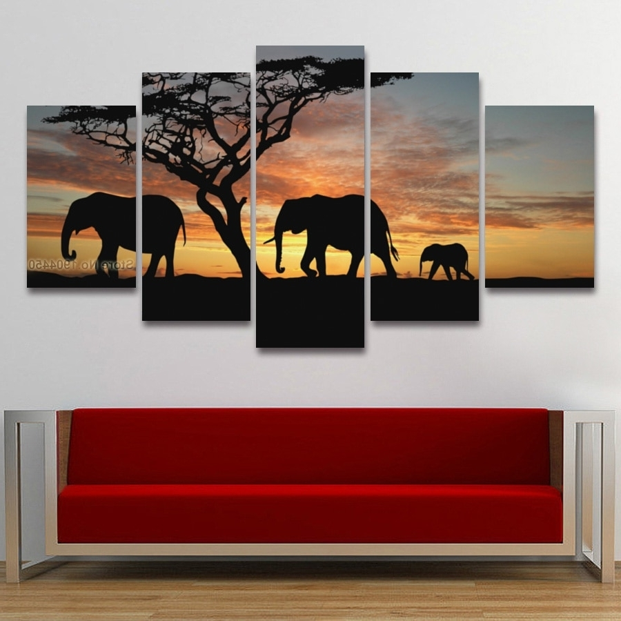 Elephant Wall Art Intended For Most Recently Released 5 Panel Painting Canvas Wall Art African Elephant Scenery Landscape (Gallery 14 of 15)