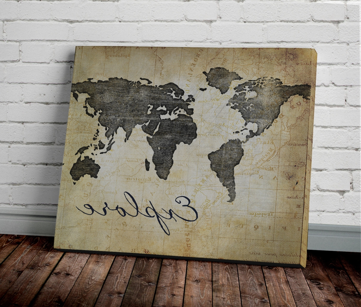 Explore World Map Wall Art Canvas World Map Print In Brown New Inside Recent Map Wall Art Prints (View 4 of 20)