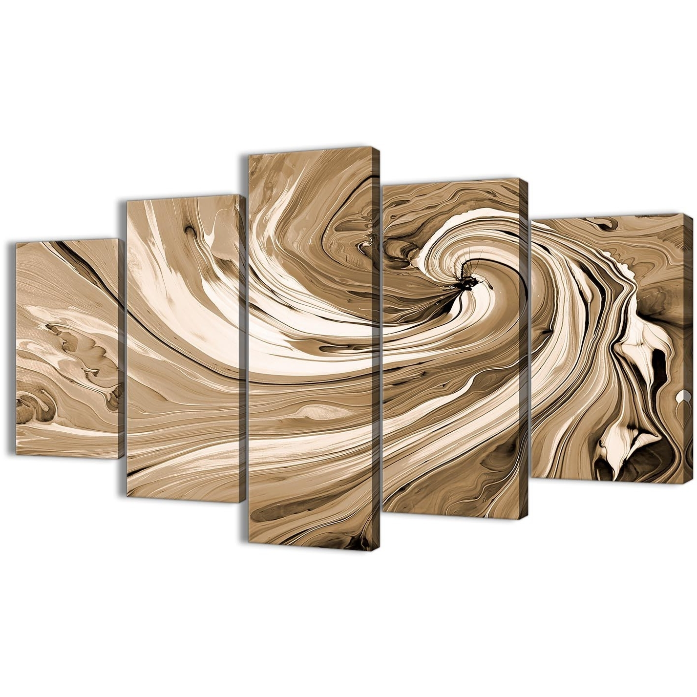 Extra Large Brown Cream Swirls Modern Abstract Canvas Wall Art Within 2017 Cheap Oversized Canvas Wall Art (View 6 of 20)