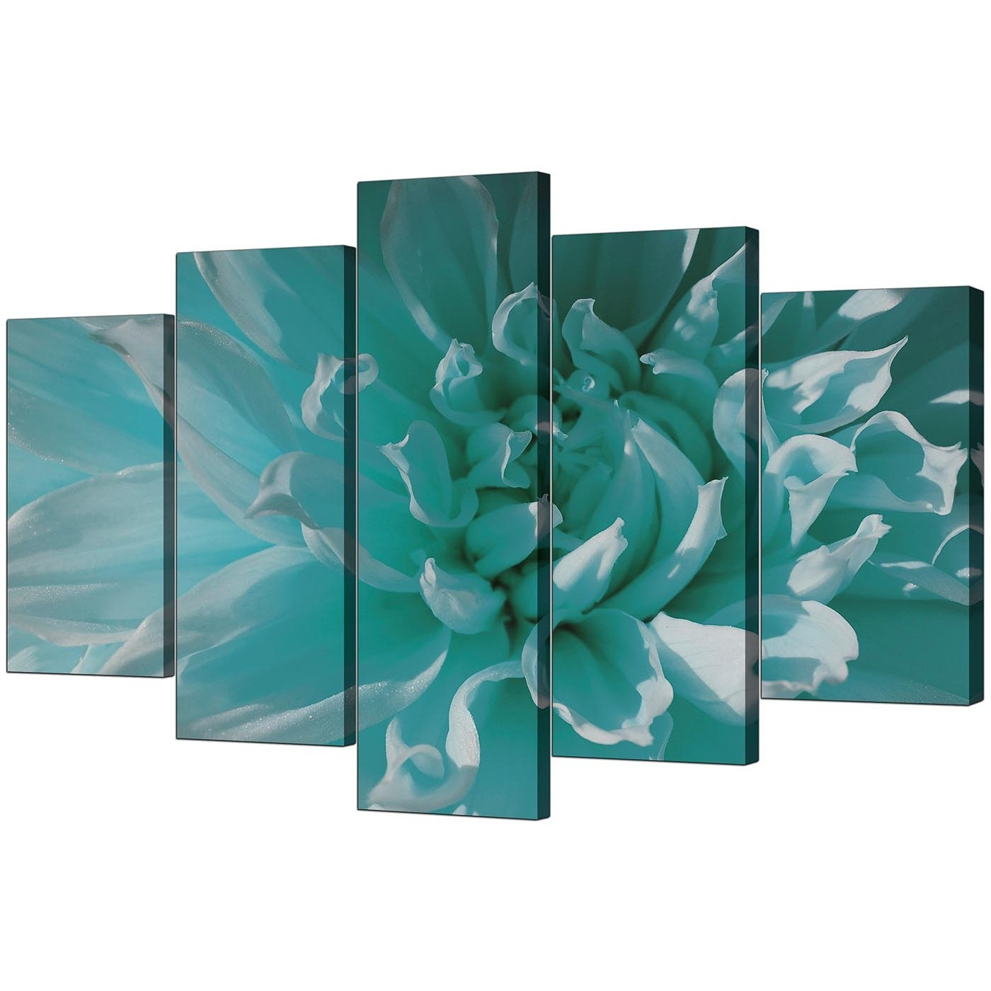 Extra Large Flower Canvas Wall Art 5 Piece In Teal Regarding Current Teal Wall Art (View 15 of 15)