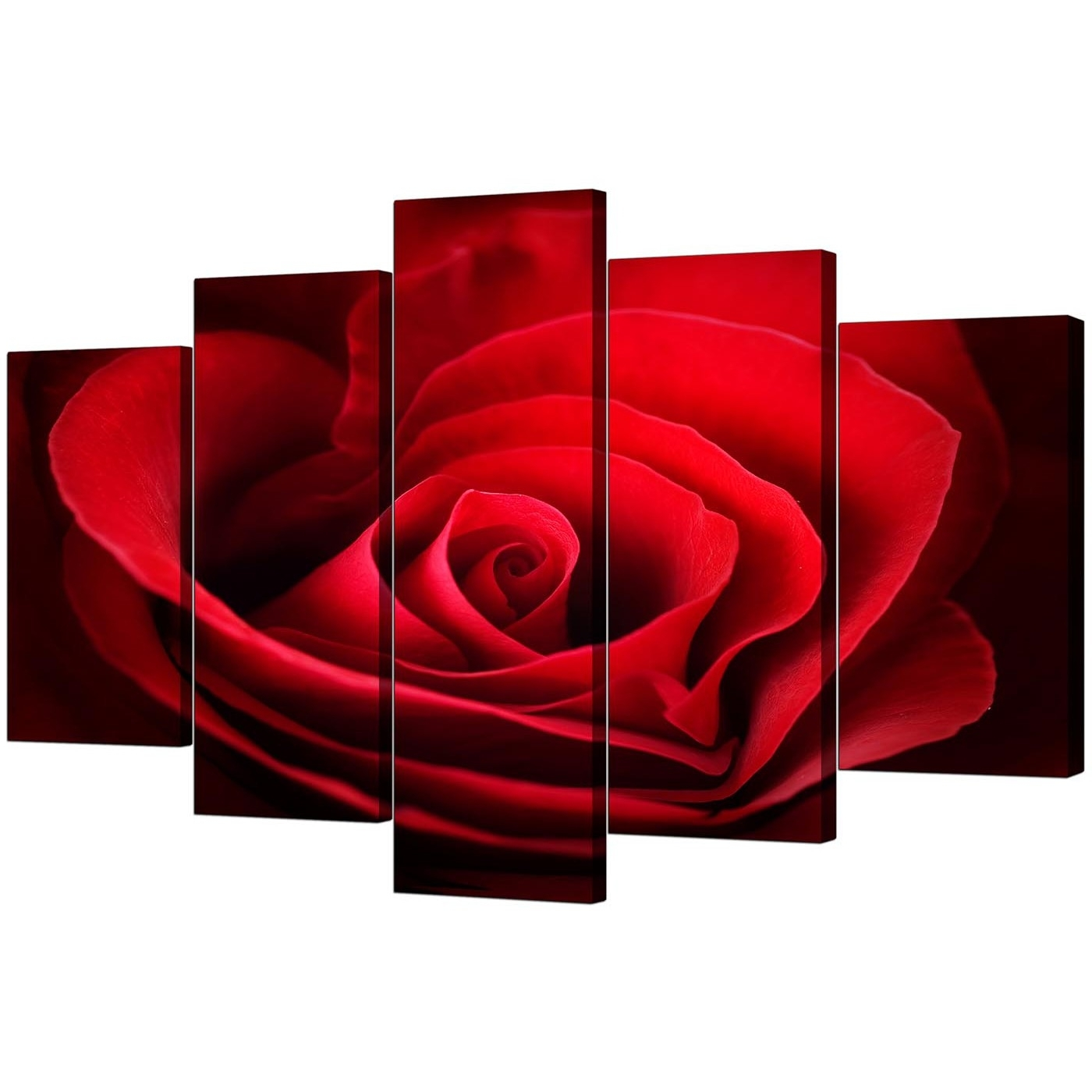 Extra Large Rose Canvas Wall Art 5 Panel In Red With Most Recently Released Red Wall Art (View 4 of 15)