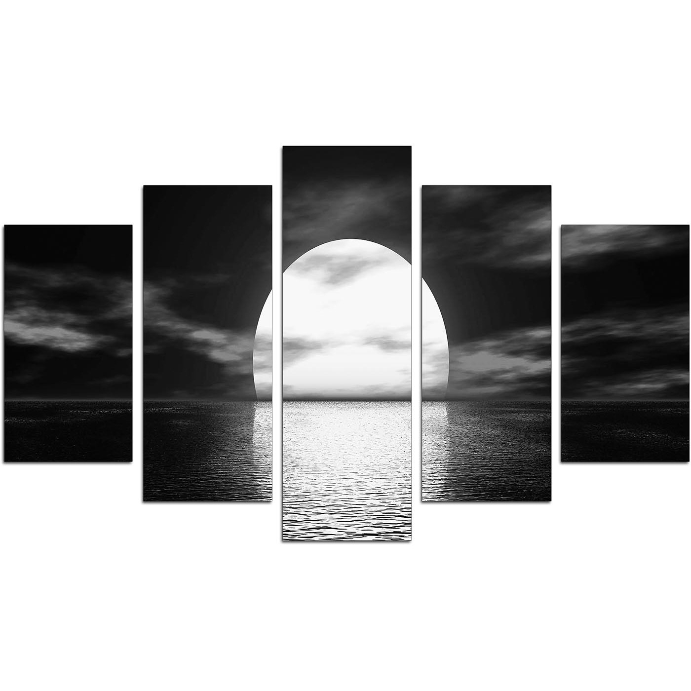 Extra Large Sunset Canvas Prints Uk Set Of Five In Black & White With Regard To Most Up To Date Black And White Large Canvas Wall Art (View 11 of 20)