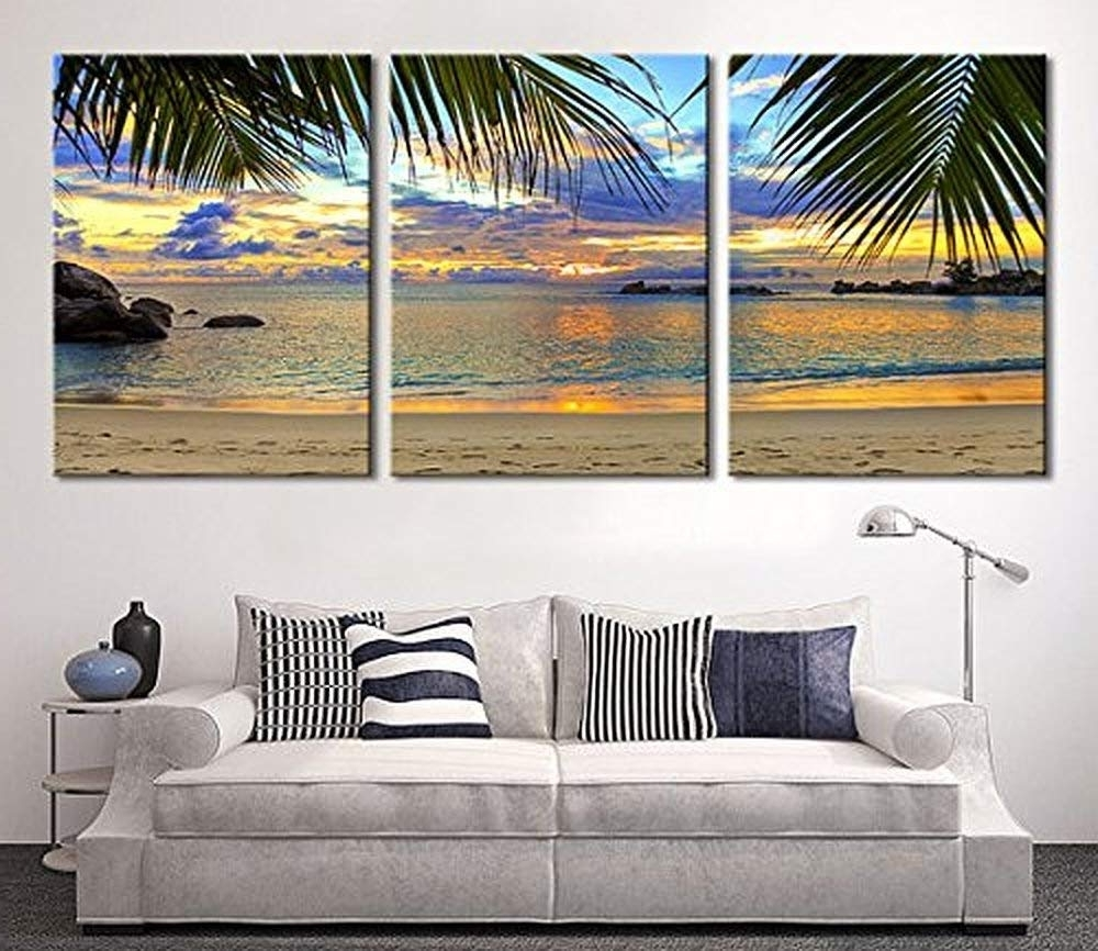 Extra Large Wall Art In Preferred Amazon: Tanda Extra Large Wall Art Palm And Beach Canvas Print  (View 3 of 20)