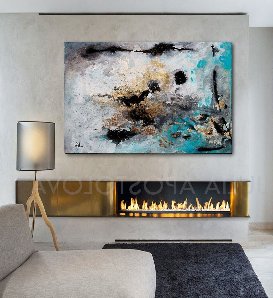 Extra Large Wall Art Pertaining To Favorite 48Inch, Turquoise Gold Black, Abstract Print, Large Wall Art (Gallery 2 of 20)