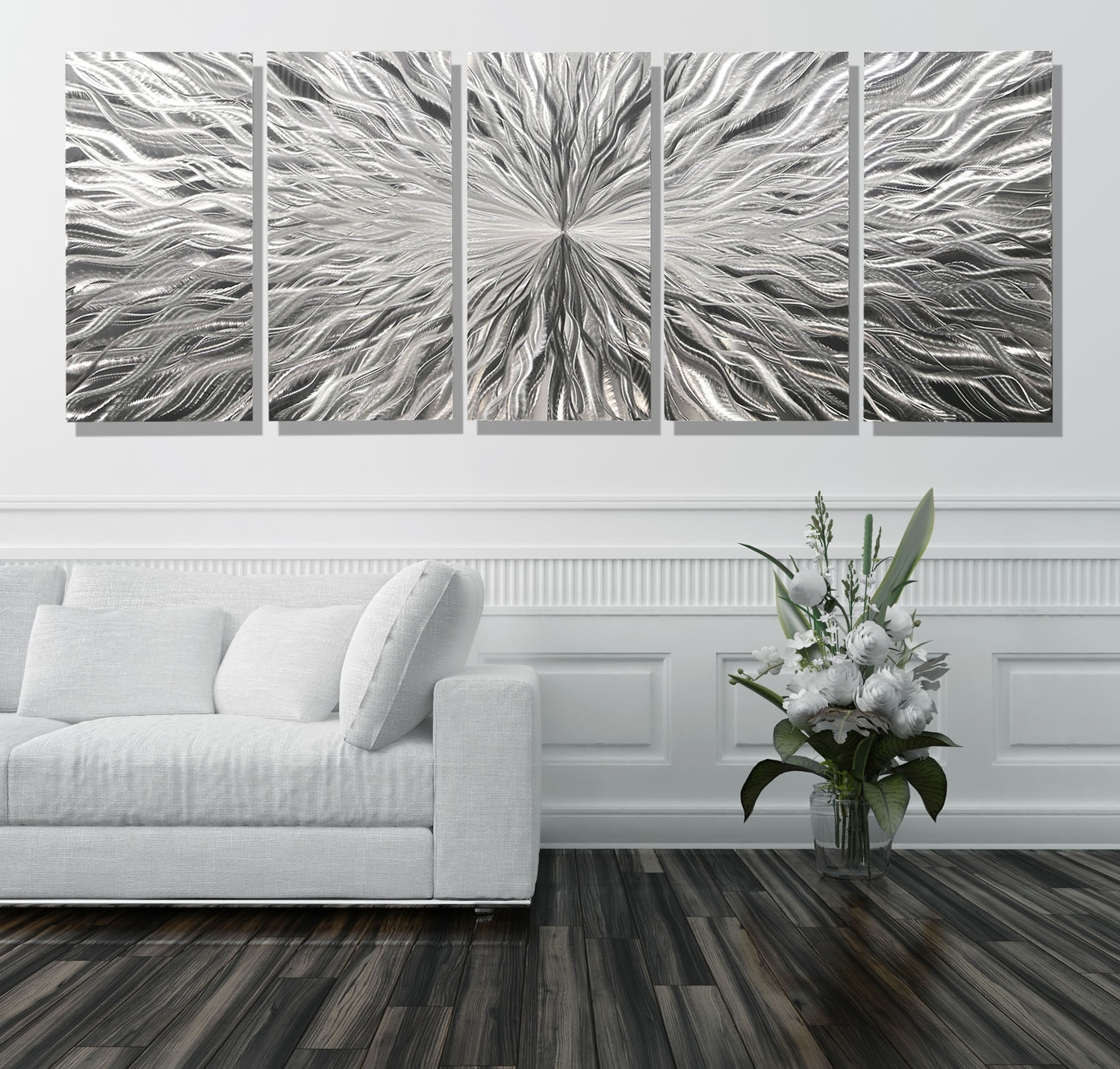 Extra Large Wall Art Regarding Best And Newest Vortex 5 Xl – Extra Large 5 Panel Modern Abstract Metal Wall Art (View 6 of 20)