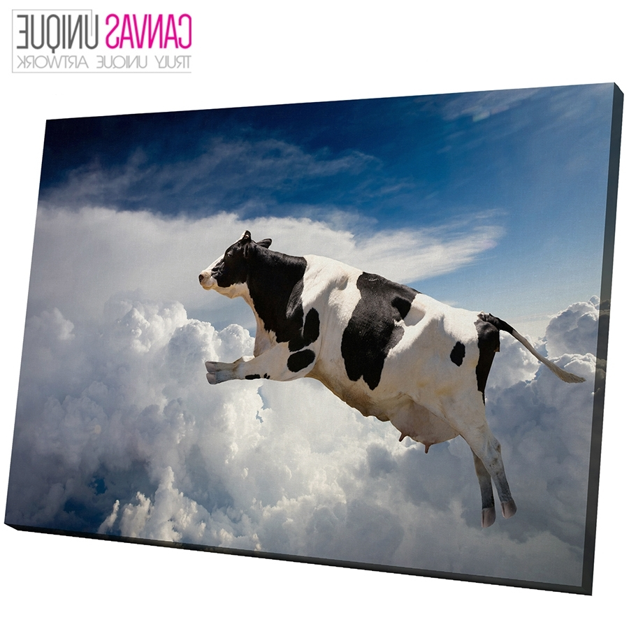 Famous A124 Black White Flying Cow Blue Sky Animal Canvas Wall Art Framed Inside Cow Canvas Wall Art (View 12 of 20)