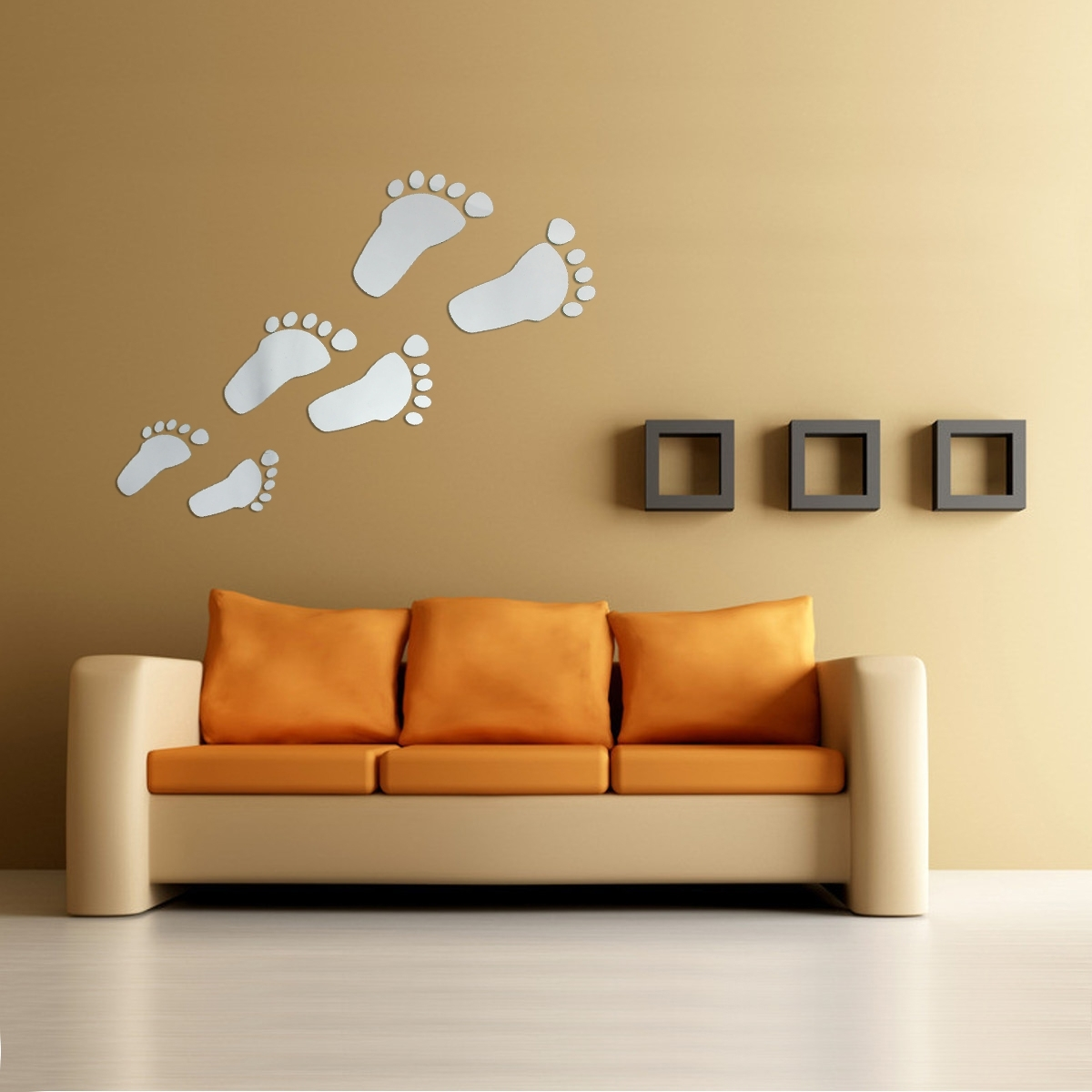 Famous Acrylic Wall Art Intended For 6Pcs Diy Footprint Acrylic Wall Sticker Fat Footprints Mirror Wall (View 10 of 20)
