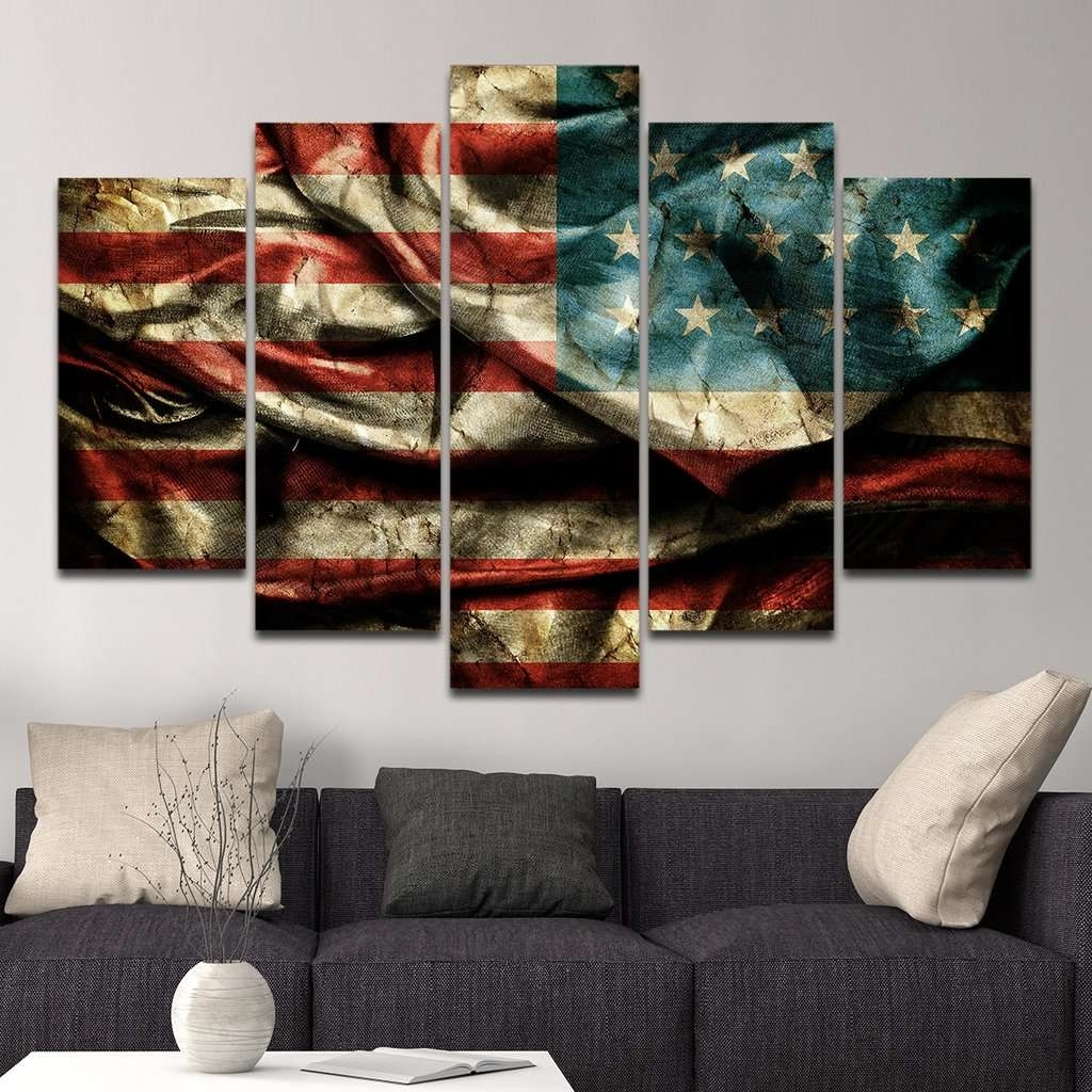 Famous American Flag Multi Panel Canvas Wall Art – Mighty Paintings With American Flag Wall Art (View 7 of 15)