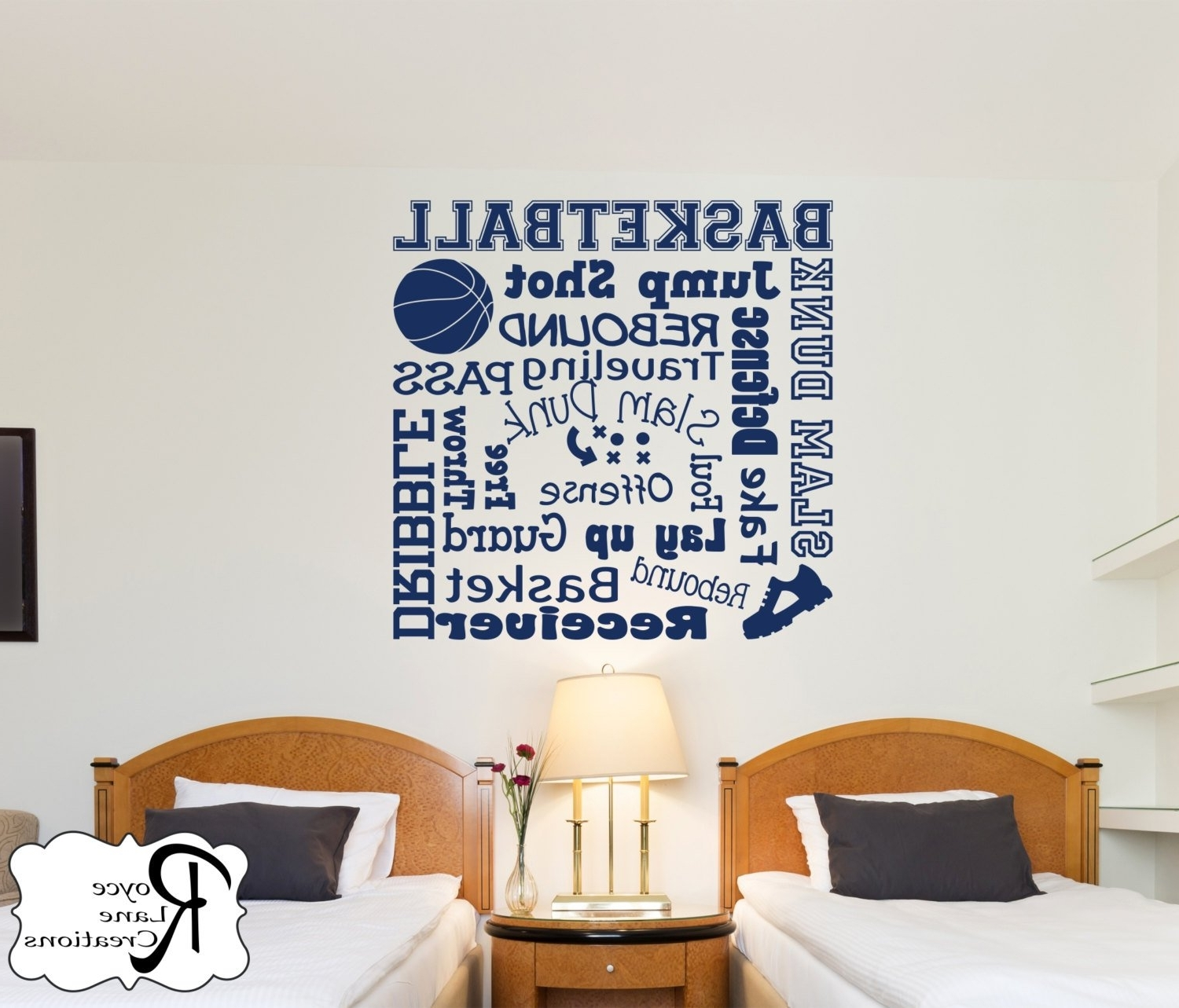 Famous Basketball Wall Decal/basketball Wall Decals Word Art 2/sports Decor With Basketball Wall Art (Gallery 14 of 15)