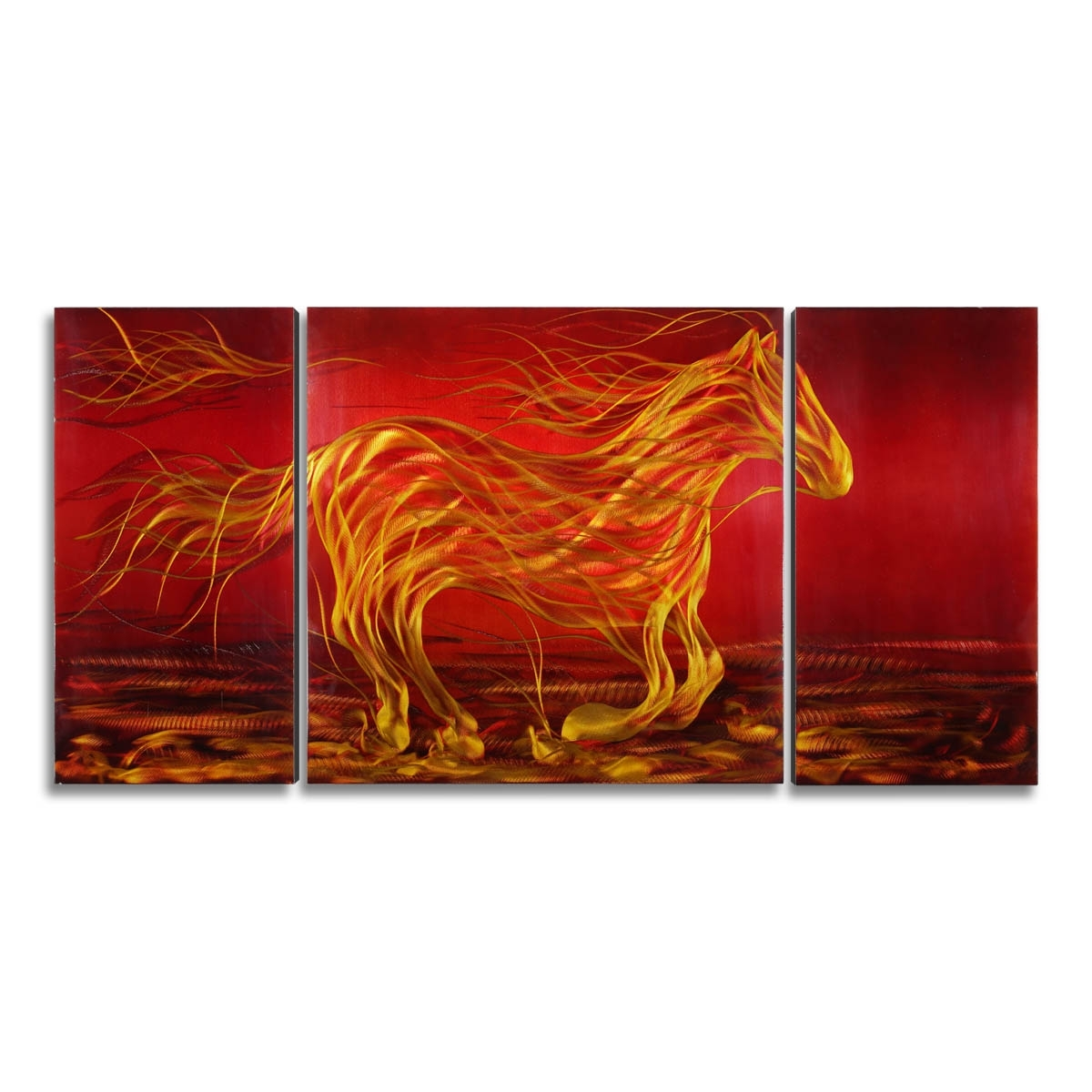 Famous Best And Cheap Red Tooarts Running Horse Modern Painting Wall Art In Orange Wall Art (View 4 of 20)