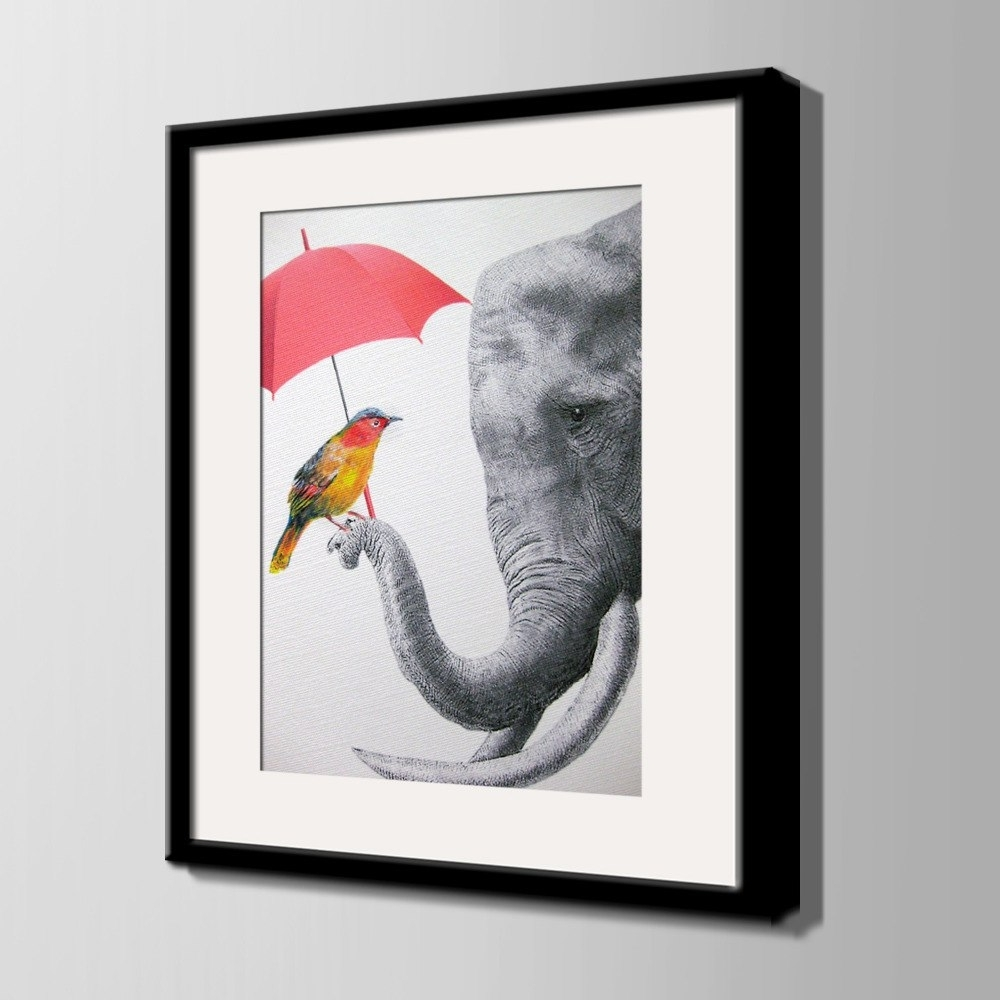 Famous Bird Framed Canvas Wall Art Intended For Nordic Style Art Print Framed Canvas Painting Art Elephant And Bird (View 5 of 20)