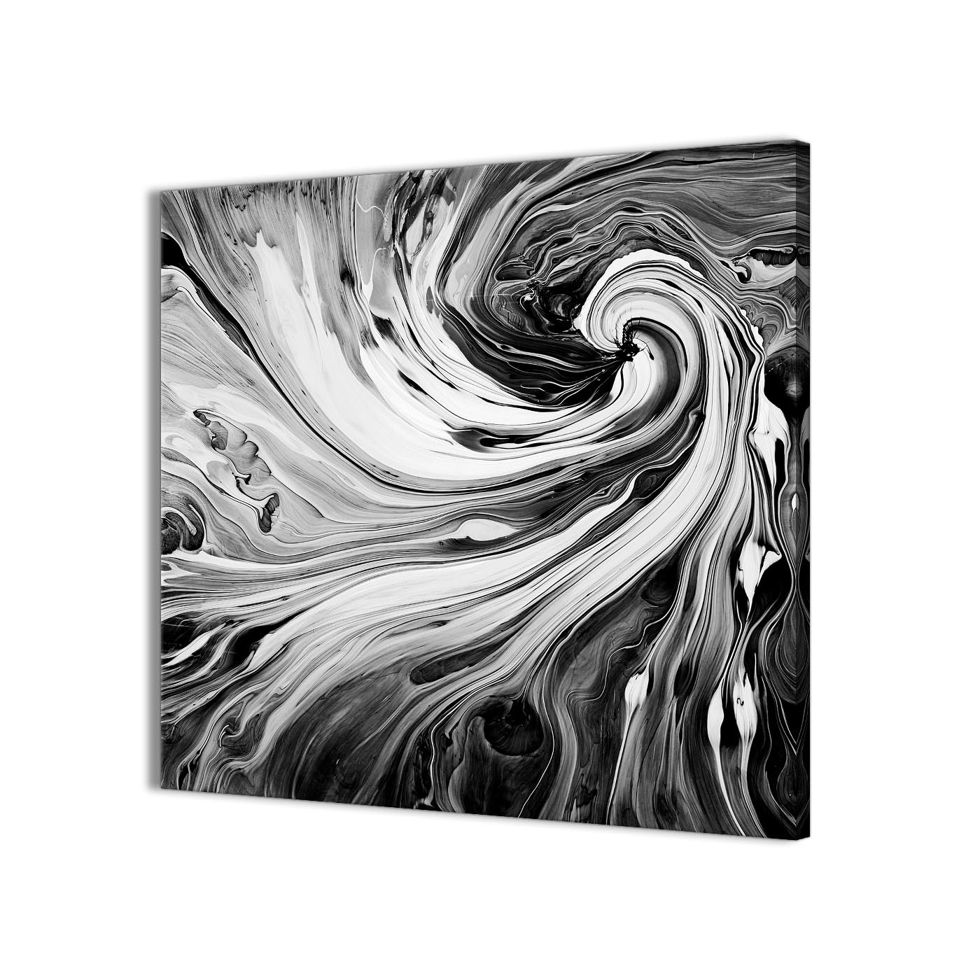Famous Black Wall Art Inside Black White Grey Swirls Modern Abstract Canvas Wall Art – 79Cm (Gallery 12 of 20)