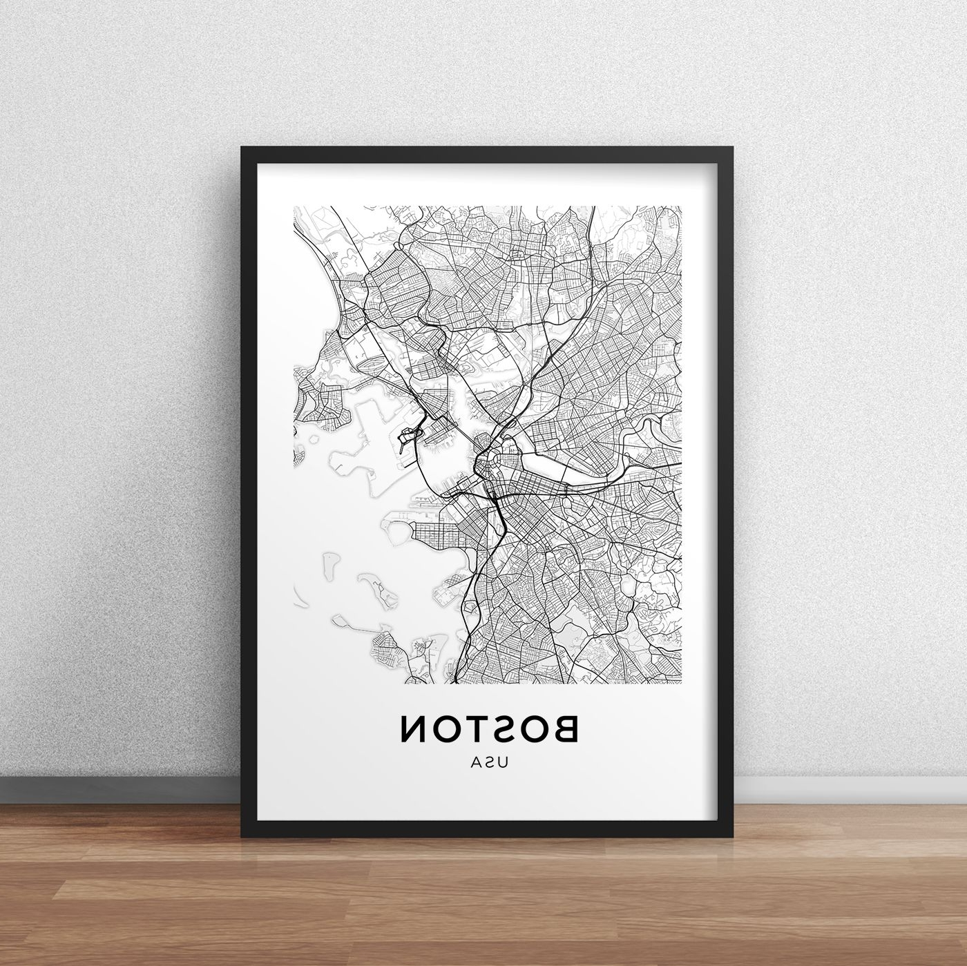 Famous Boston Map Print, Printable Boston Map, Boston City Map, Boston Regarding Boston Wall Art (View 7 of 20)