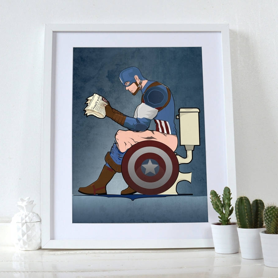 Famous Captain America On The Toilet Poster Wall Art Printwyatt9 With Wall Art Prints (View 2 of 20)