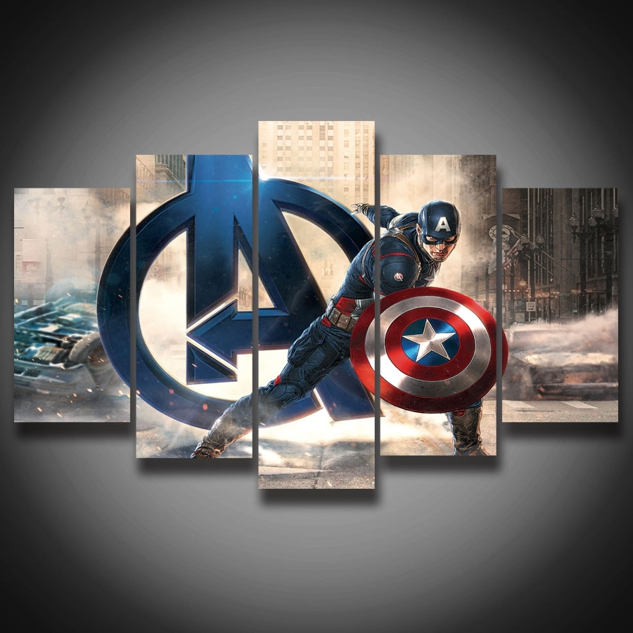 Famous Captain America Wall Art For Framed Hd Printed Movie Super Hero Avenger Captain America Painting (View 2 of 15)