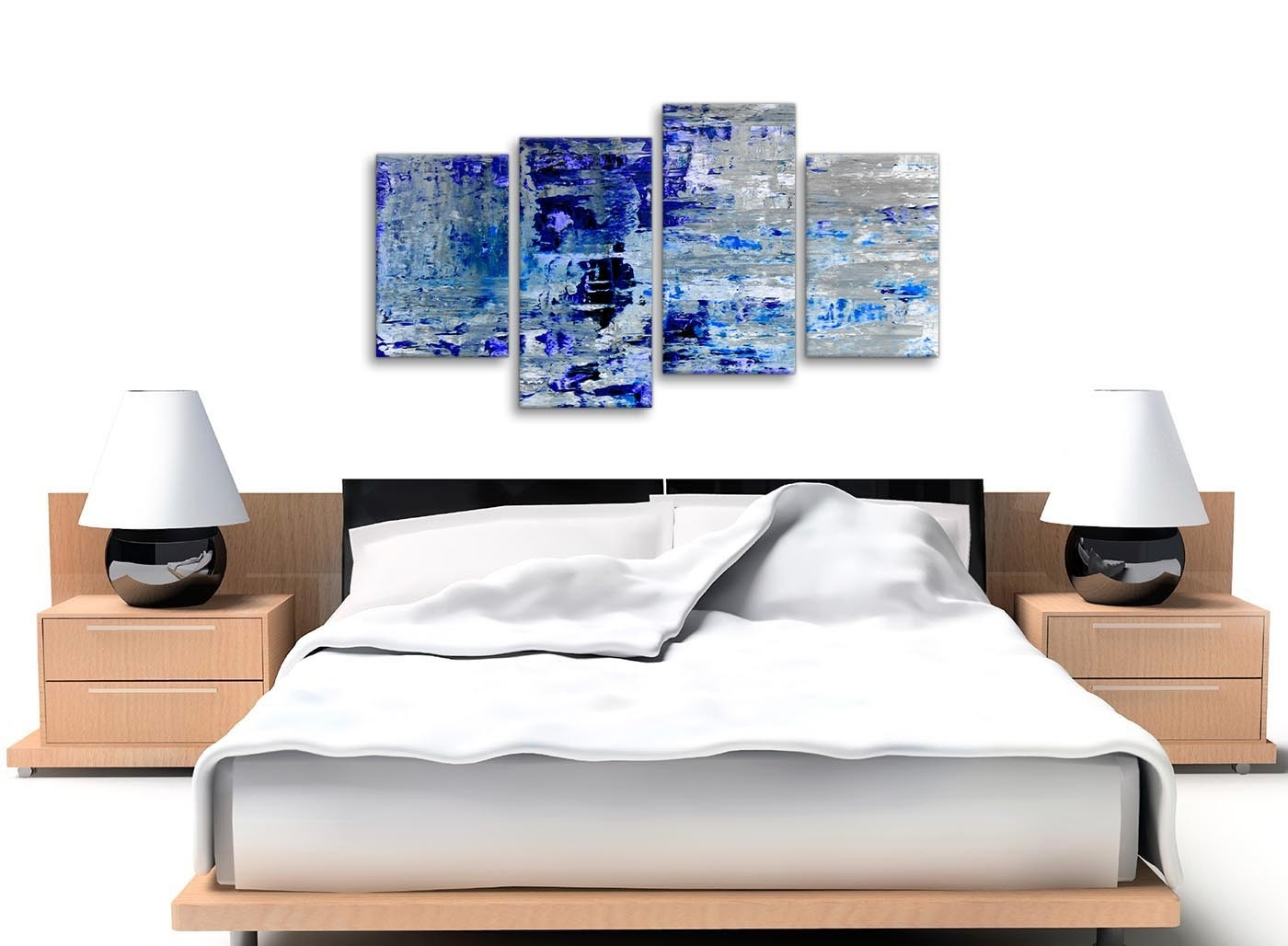 Famous Cheap Large Canvas Wall Art With Large Indigo Blue Grey Abstract Painting Wall Art Print Canvas (View 10 of 20)