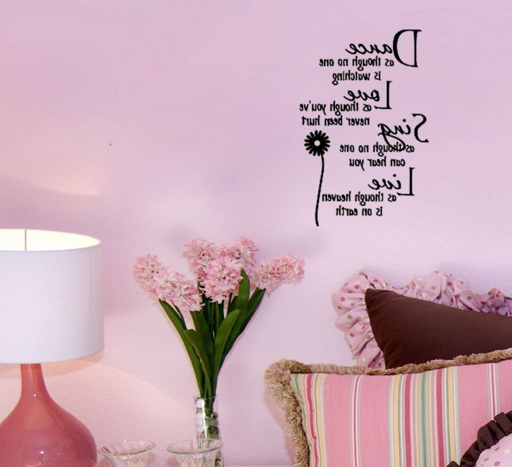 Famous Dance&love&sing&live Home Decoration Wall Art Decals Living Room Throughout Wall Art Decals (View 5 of 15)