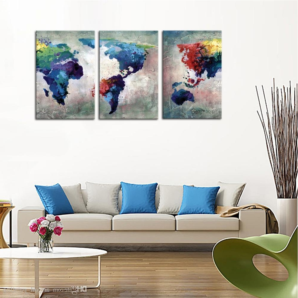 Famous Discount 3 Panles Abstract Color Map Canvas Paintings Artwork World Intended For Discount Wall Art (View 5 of 20)
