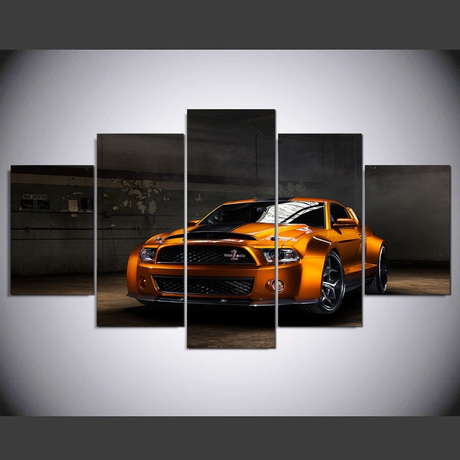 Famous Five Piece Canvas Wall Art Within Ford Mustang Wide Body Car 5 Piece Canvas Wall Art Printed Poster (View 4 of 20)