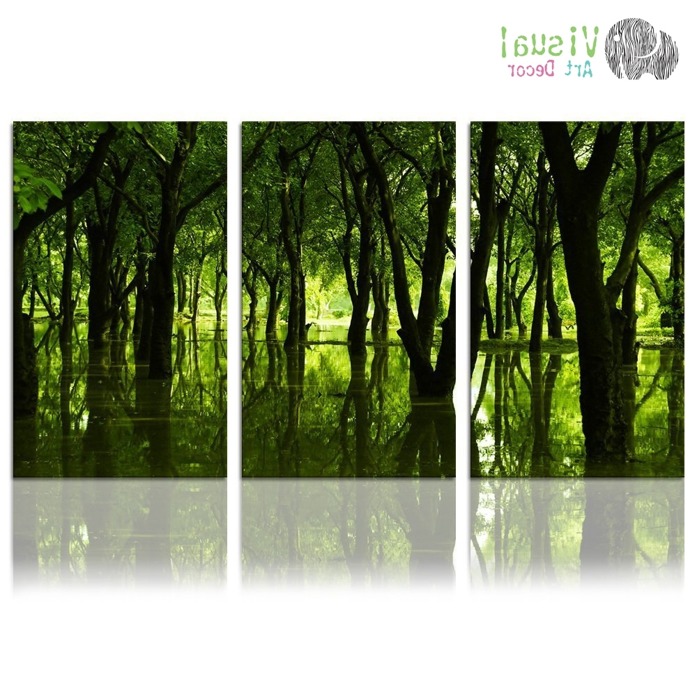 Famous Forest Canvas Wall Art Well Designed Reflection Of Green Trees Large For Nature Wall Art (View 20 of 20)