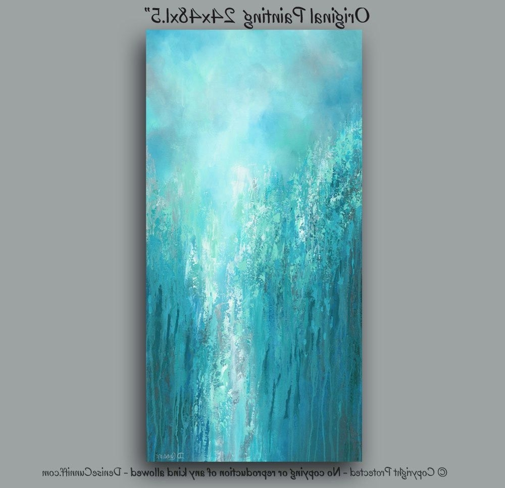Famous Large Original Wall Art, Gray Turquoise Teal Green & Blue, Tall Pertaining To Oversized Teal Canvas Wall Art (View 4 of 20)