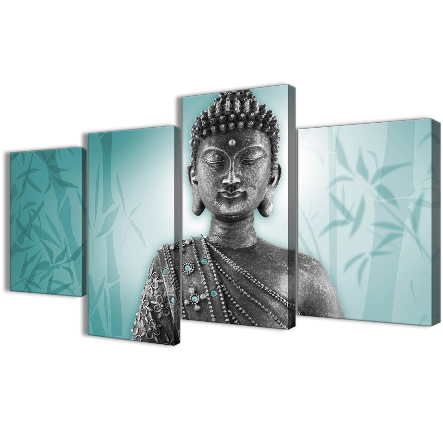 Famous Large Teal And Grey Silver Canvas Art Prints Of Buddha – Split 4 Set With Regard To Teal Wall Art (View 13 of 15)