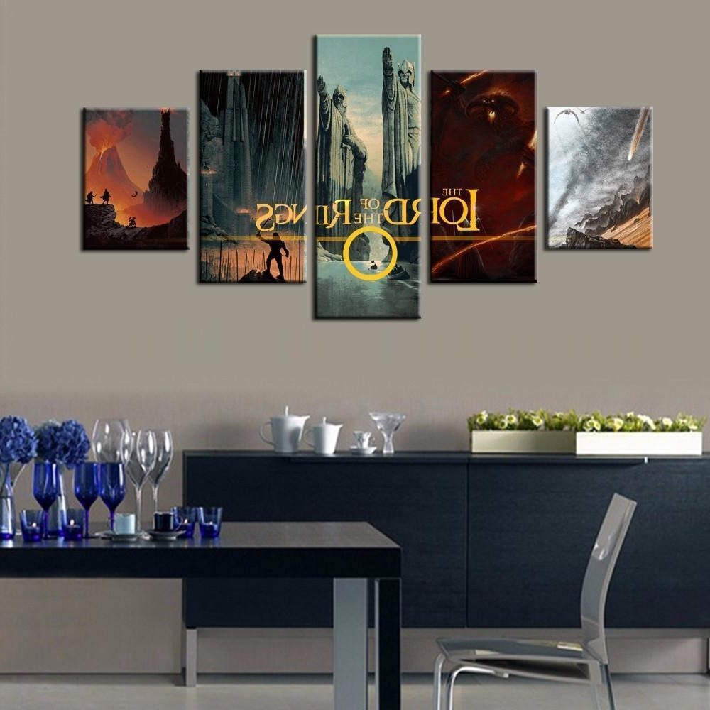 Famous Lord Of The Rings Wall Art With Framed 5 Piece Lord Of The Rings Montage Canvas Art Wall, Lord Of (View 1 of 20)