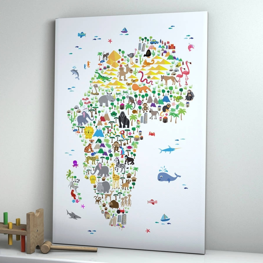 Famous Map Wall Art Prints With Animal Map Of Africa Childrens Printartpause (View 5 of 20)