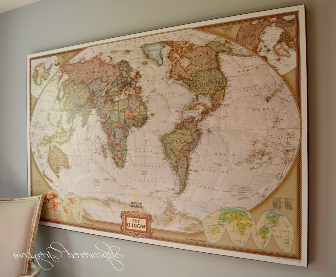 Famous Maps Wall Art Regarding World Map Wall Art – Slipcovered Grey (Gallery 15 of 20)