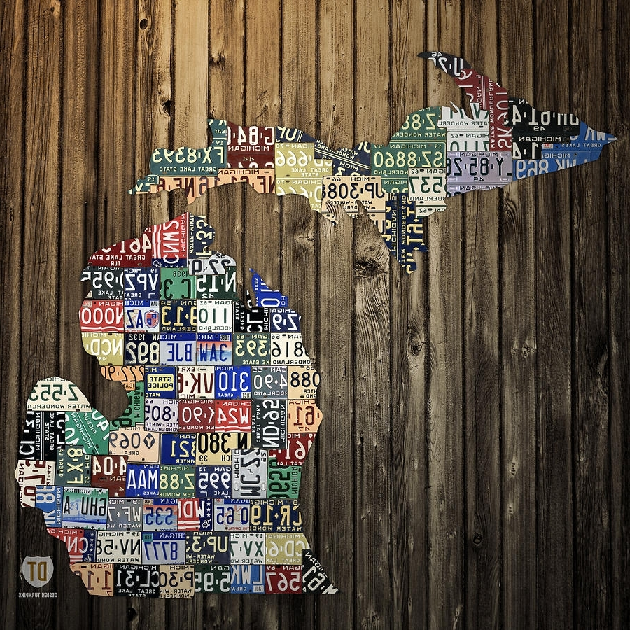 Famous Michigan Wall Art Inside Michigan Counties State License Plate Map Mixed Mediadesign Turnpike (View 2 of 20)