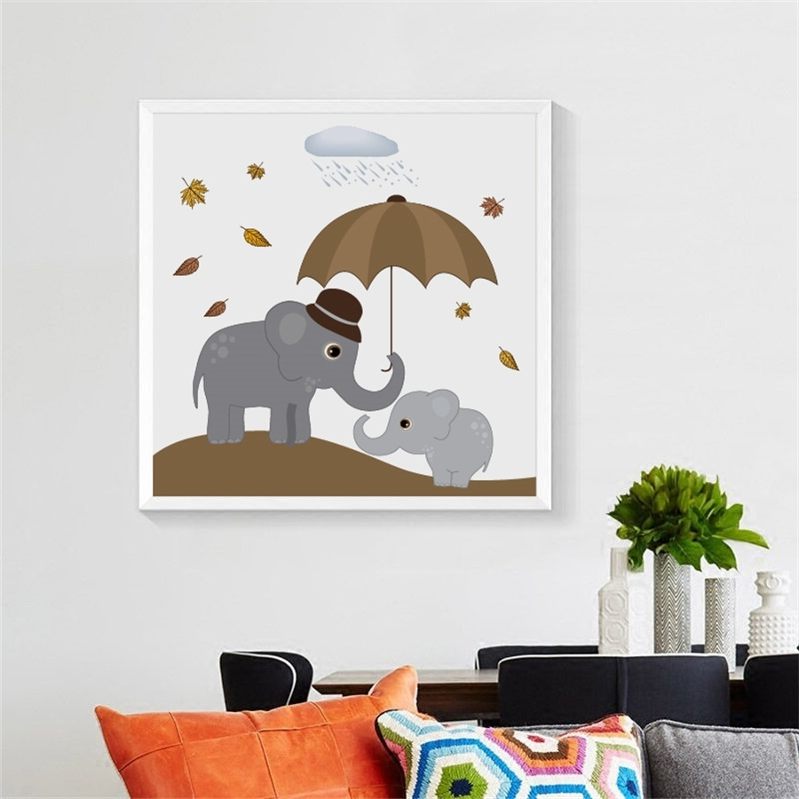 Famous Nordic Elephants Print Wall Art Decor , Cute Cartoon Animal Elephant Within Elephant Wall Art (Gallery 5 of 15)