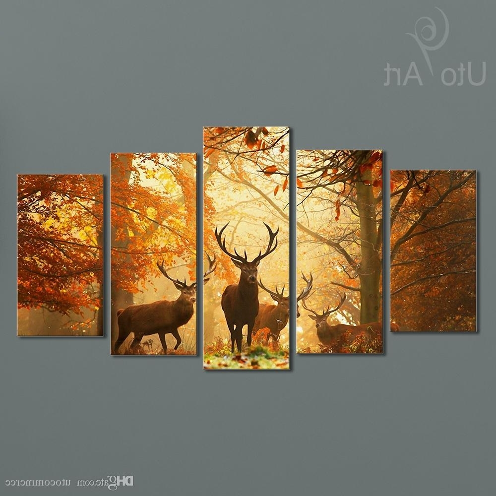 Famous Online Cheap Modern Digital Picture Print On Canvas Animal Deer For Custom Wall Art (View 12 of 20)
