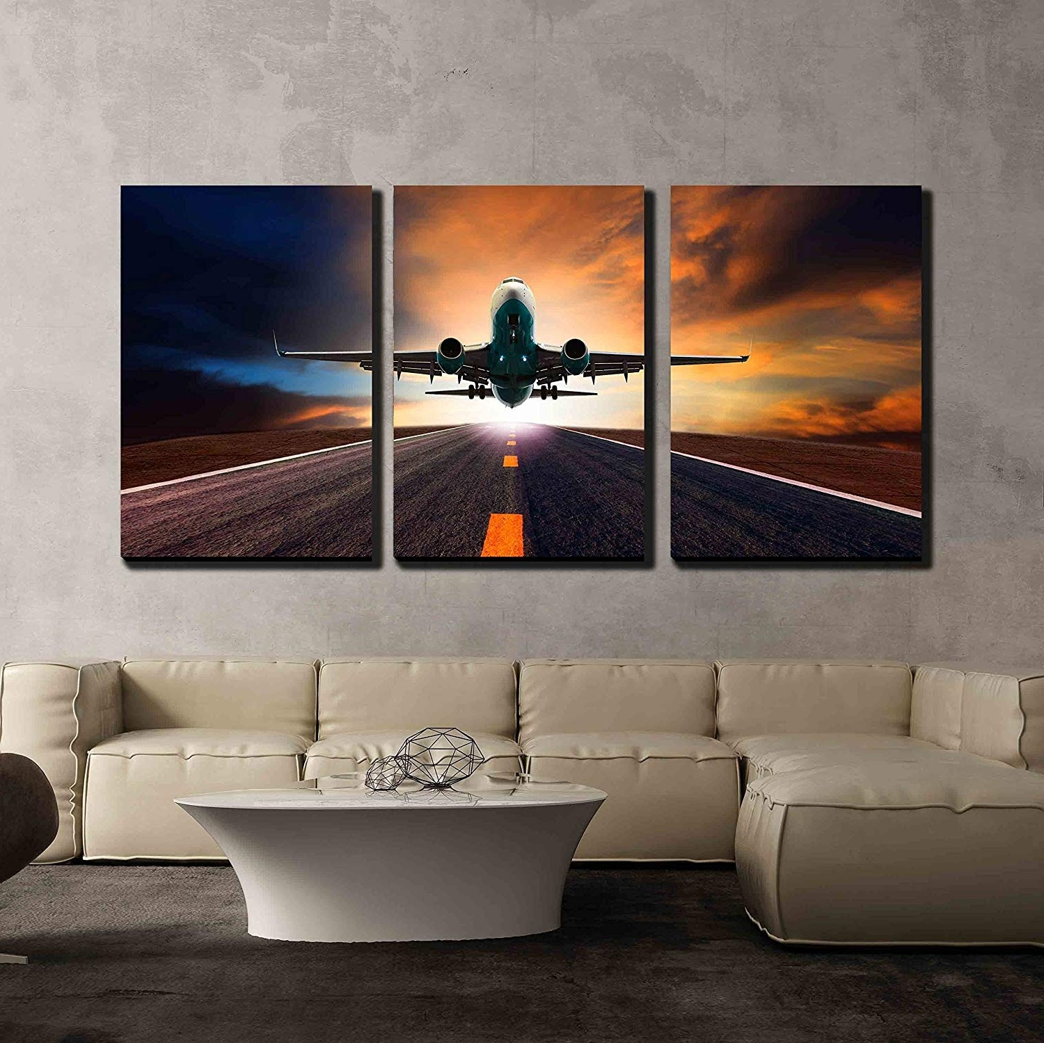 Famous Passenger Jet Plane Flying Over Airport Runway Against Beautiful With Regard To Airplane Wall Art (View 13 of 20)